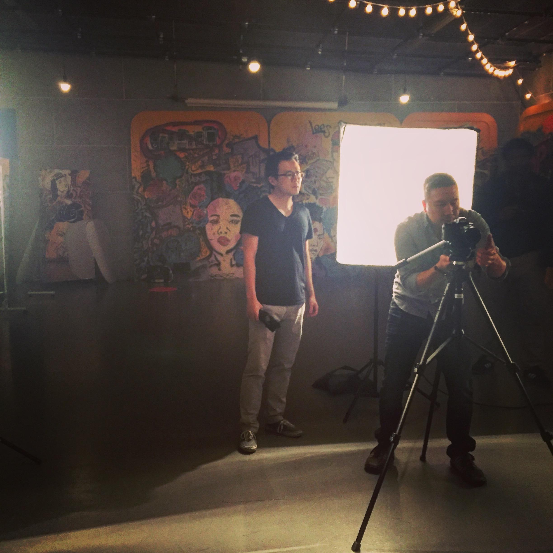 Videographers setting up