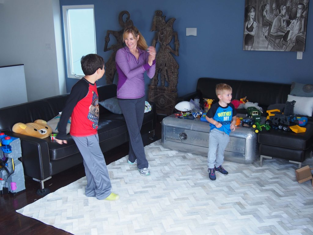 Lori and her boys enjoying the Old School Hip Hop workout