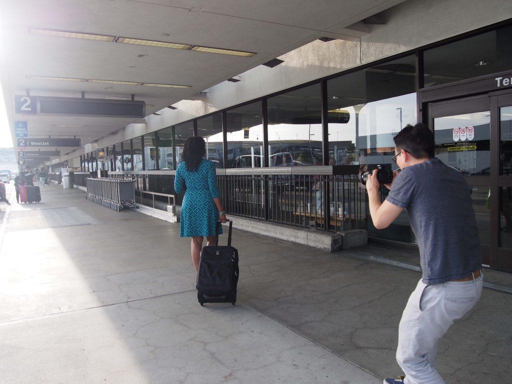 Nya walking through the terminal at LAX